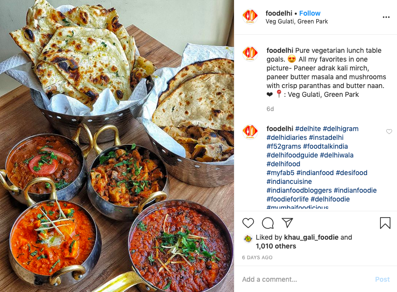 Foodelhi Instagram Screenshot